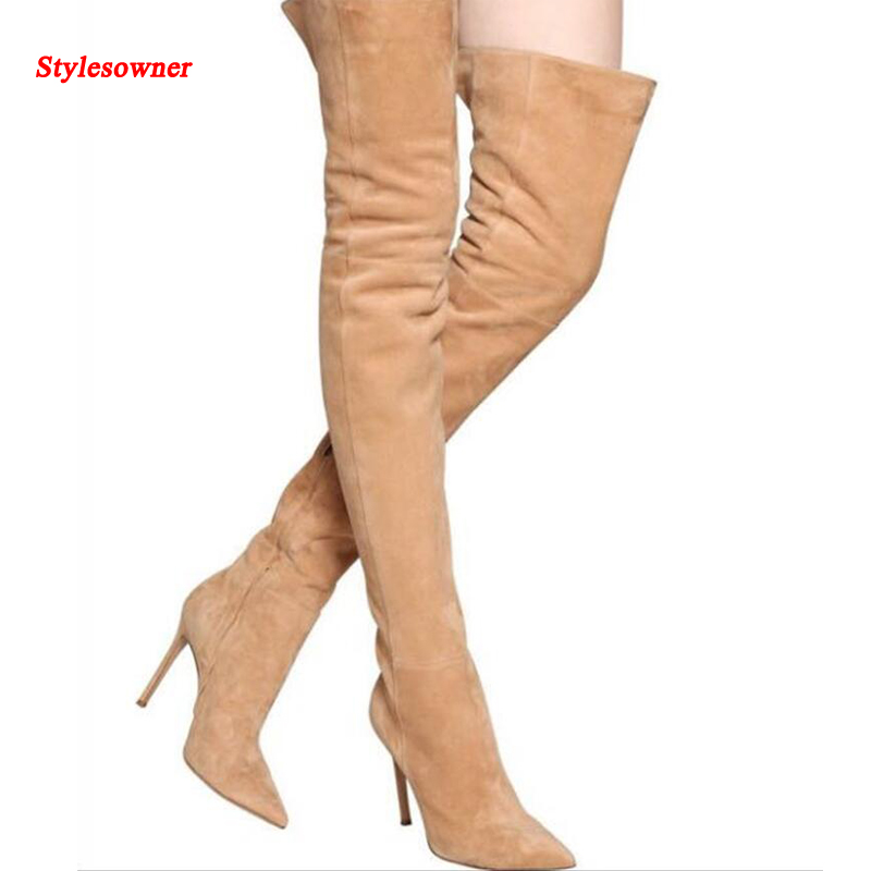 Stylesowner Sexy over the knee thigh high boots slim fit elastic suede leather pointy high heel boots extra long boots high heel real leather pointy suede slim thigh women boots stretch velvet over the knee sexy extreme stiletto shoes sheepskin