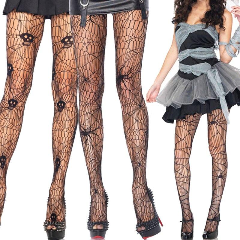 Sexy Skull Spider Web Net Pantyhose Stockings For Women Adult Halloween Costume Hosiery 88 JL