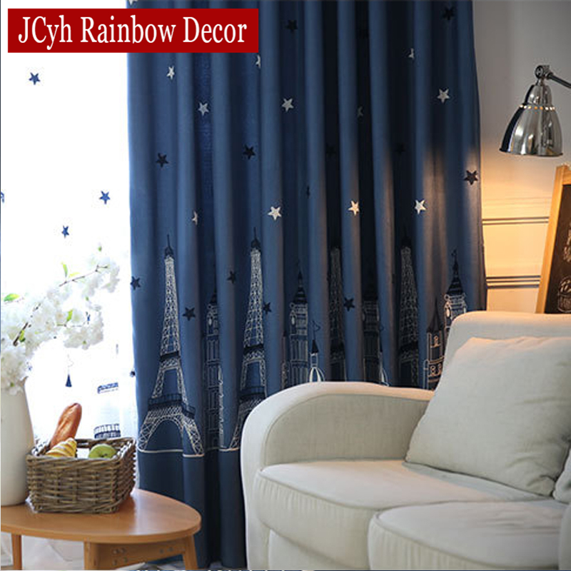 Embroidered window blackout curtains for bedroom modern - Childrens bedroom blackout curtains ...