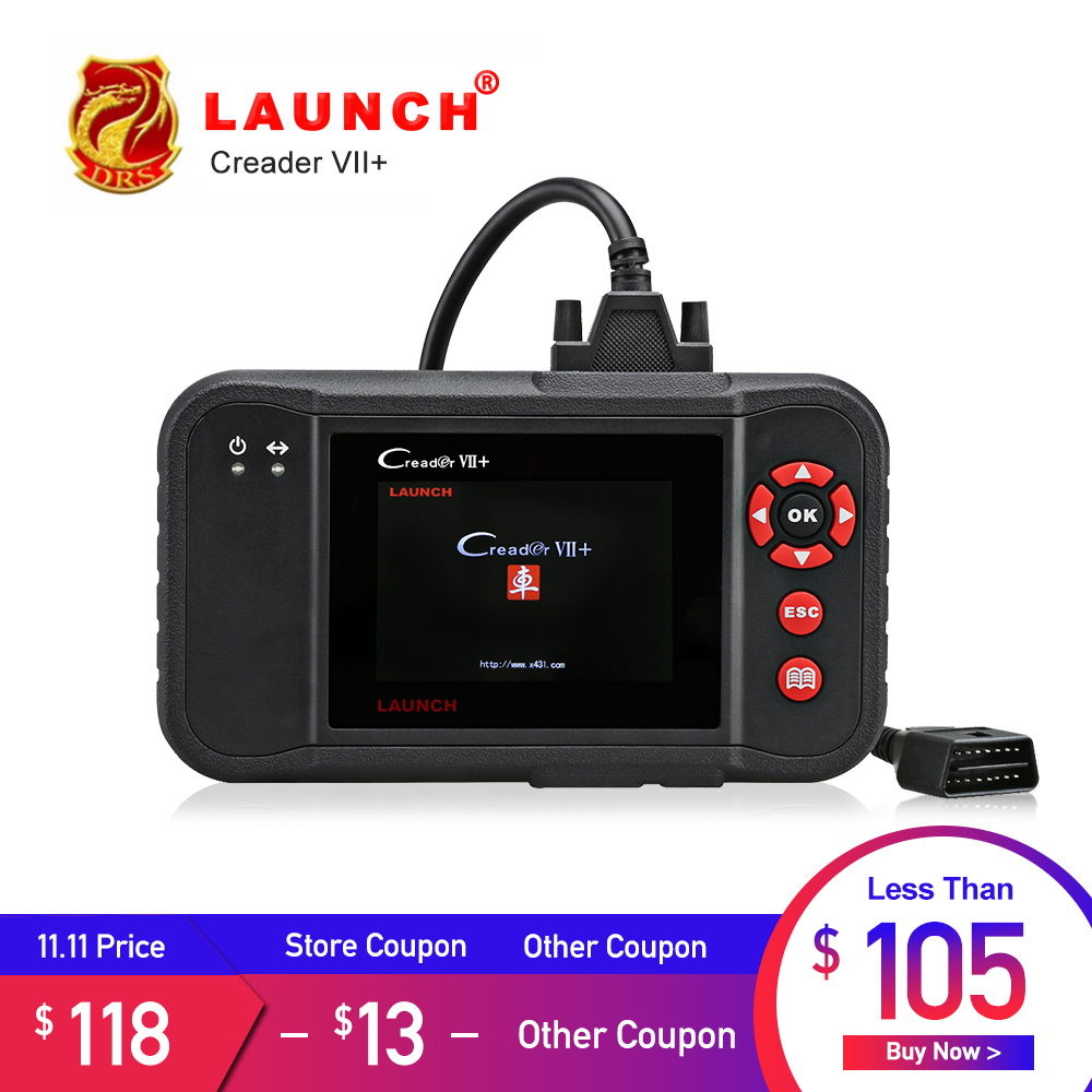 Launch X431 Creader VII Plus VII+ Auto Code Reader OBD2 OBD 2 Scanner Launch CRP123 OBDII Diagnostic Tool Automotive Scan Tool original launch golo m diag lite plus diagnostic tool for ios android built in bluetooth obdii batter than x431 idiag easydiag
