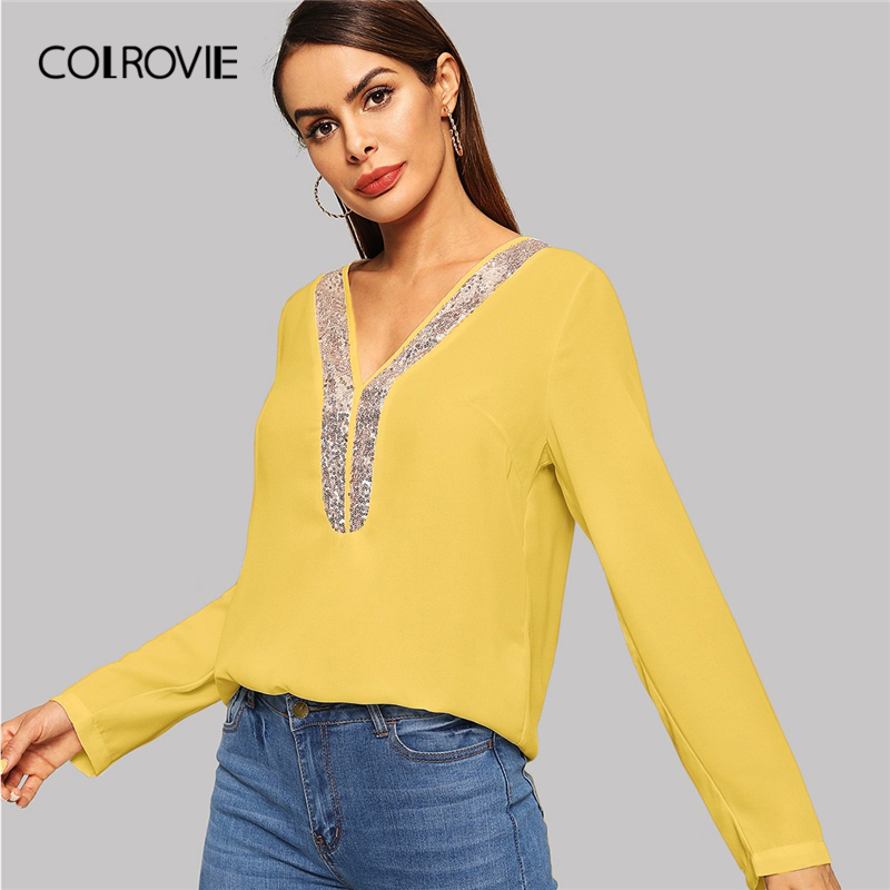 COLROVIE Yellow V-Neck Contrast Sequin Elegant   Blouse     Shirt   Women 2019 Spring Fashion Long Sleeve Office Ladies Tops And   Blouses