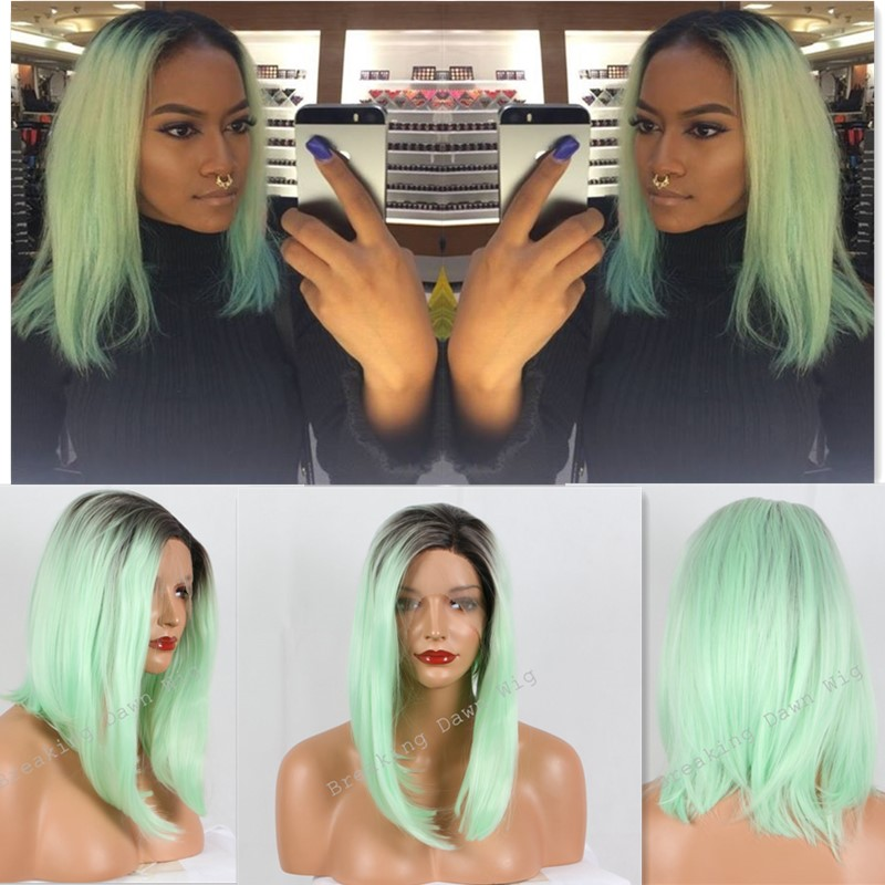 Christmas Kylie Jenner long bob wig mint green ombre wig