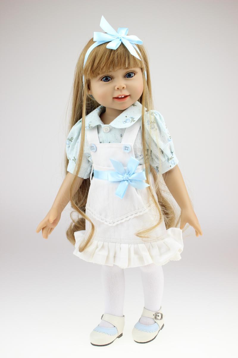 18 pouces fille poupée cheveux blonds bleu robe mode bébé vivant Boneca cadeau d'anniversaire jouets pour fille enfants