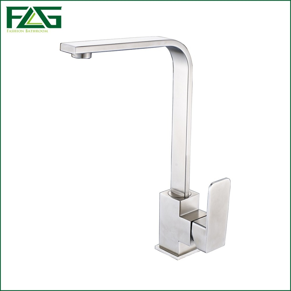 FLG Kitchen Faucet 304 Stainless Steel Kitchen Plate Rotatable Tap Kitchen Cold And Hot Deck Mounted Torneira De Parede CS004 clos 33mm metal mounted plate 38mm plastic dual wheel rotatable caster
