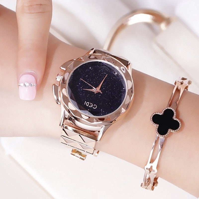 Top Brand GEDI Watches Luxury Rose Gold Stainless Steel Quartz Watch Women Fashion Analog Starry sky Crystal Diamond Watches simple fashion 316l stainless steel rose gold watch women dress loreo watches top brand luxury diamond quartz watches for girls