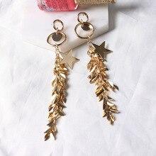 2017 Новая Мода Длинные Кисточкой Листья Позолоченные Звезды Серьги Для Женщин Ювелирных Изделий Oorbellen Brincos Bijoux Femme Подарки Оптом