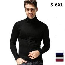 Mens Fashion Spring Long Sleeve T-shirt Casual Shirt Turtleneck collar slim fit T shirt, plus size Men's tees S-6XL black white