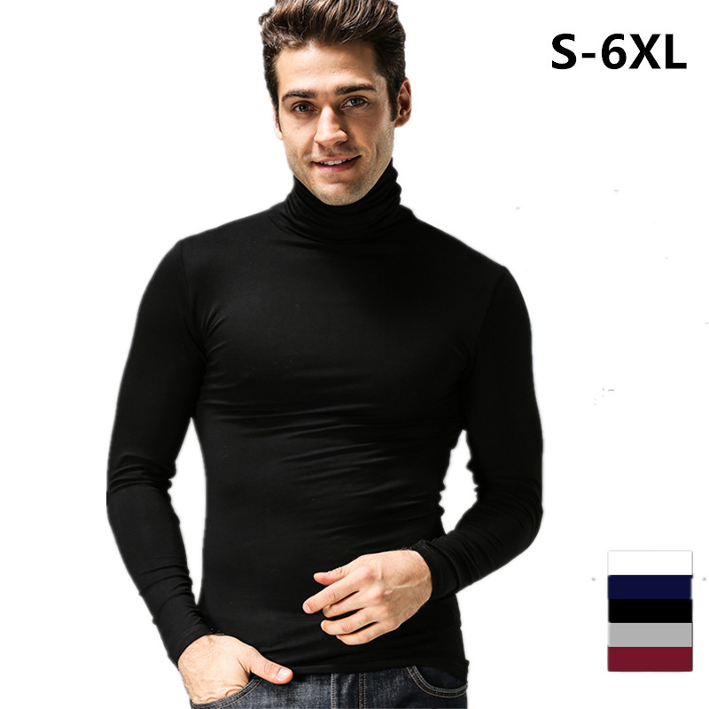 Mens Fashion Spring Long Sleeve   T  -  shirt   Casual   Shirt   Turtleneck collar slim fit   T     shirt  , plus size Men's tees S-6XL black white