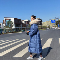 Plus Size Down Coat Female 2018 New Korean Warm Thick Large Raccoon Fur With Hooed Over Knee X long Winter Coat Wide waisted