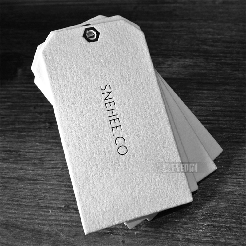 Custom high technique black stamping logo paper tags for clothing in Garment Tags from Home Garden