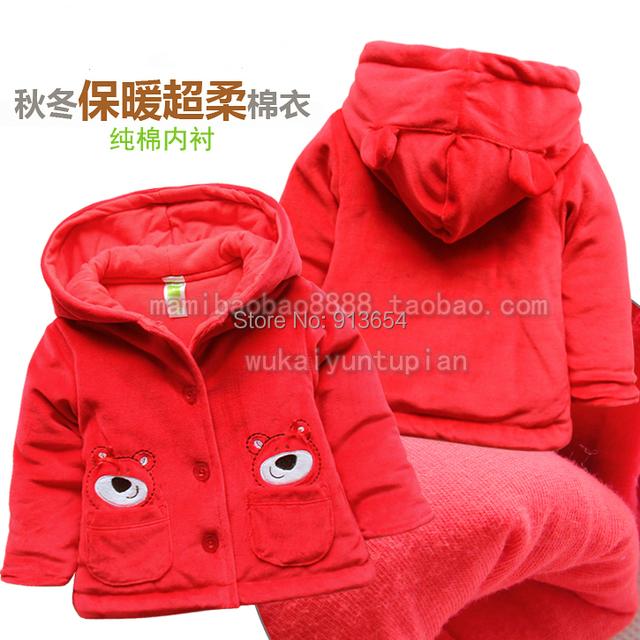Nueva 2015 otoño invierno niños abrigos abrigos ropa del bebé chaquetas niño caliente de terciopelo con capucha capa de las muchachas de prendas de vestir exteriores