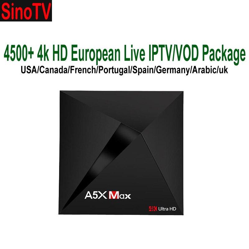 Android 9.0 4 K chaînes hollandaises IPTV décodeur A5X Max français allemagne USA Canada un an Sinotv abonnement arabe UK espagne TV-in Décodeurs TV from Electronique    1