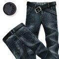 Novo 2016 calças de brim dos homens calças retas calças compridas casuais dos homens de cor azul escuro fino design clássico bom tecido masculino calças de brim