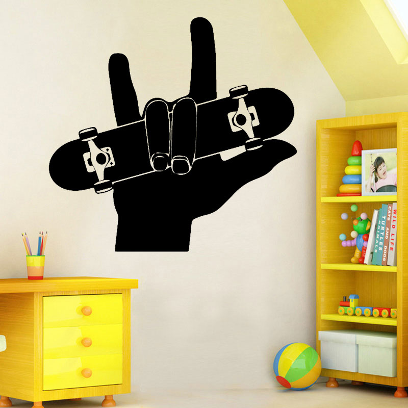 Image 1 - Finger skateboard sports wall stickers PVC material DIY murals youth room living room sofa background decorative stickers 3YD9-in Wall Stickers from Home & Garden