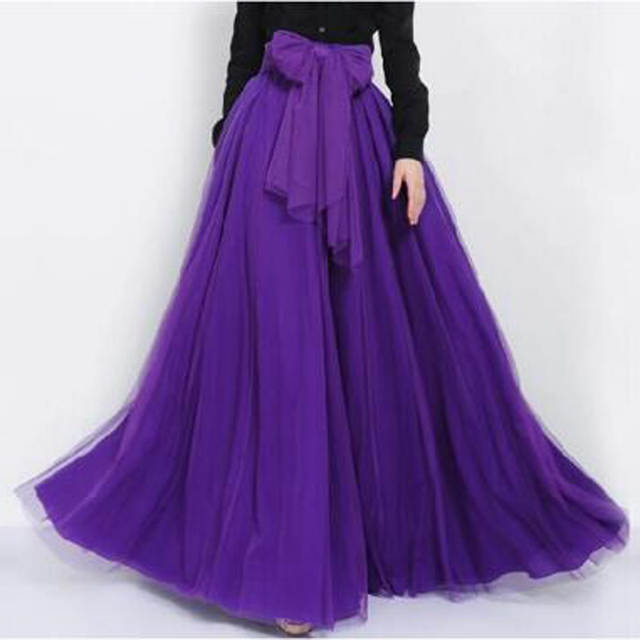 0af870cac16da Online Shop Graceful Purple Long Skirt with Sashes Dreamlike Floor Length Maxi  Tulle Skirts Womens Summer Spring Style Tutu Skirt Custom