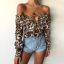 Elegant Off Shoulder Long Sleeve Cropped Blouse Shirt Women Sexy Leopard Print Bow Tie Lace Up Crop Top Summer Blusas 2019 lace up studded long sleeve crop top