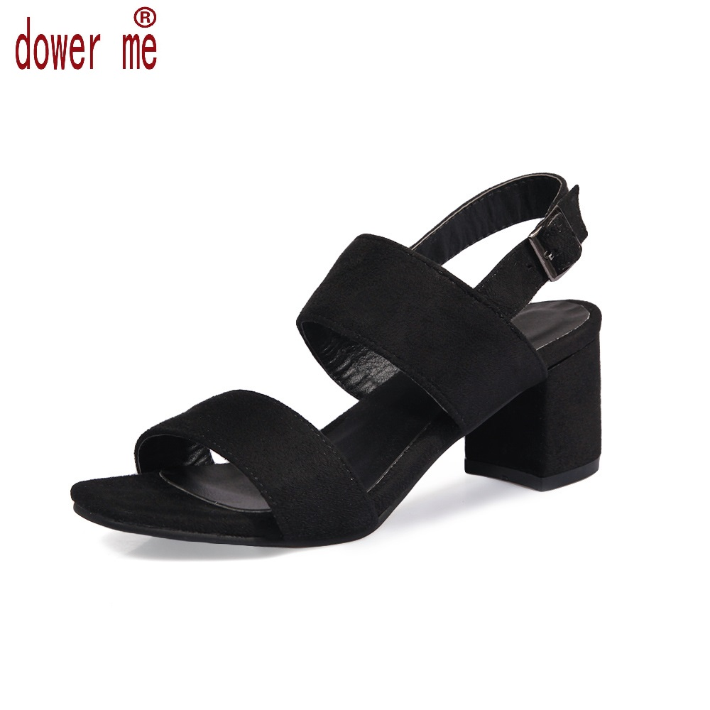 Dower Me 2017 Summer Shoes Woman Buckle Sandals Women Soft Leather Casual Open Toe Gladiator Square Heel Shoes Zapatos Mujer vtota platform sandals summer shoes woman soft leather casual open toe gladiator shoes women shoes women wedges sandals r25