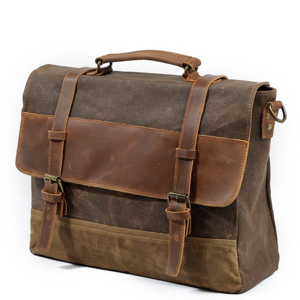Leather Messenger bag for men shoulder bag mens Laptop Briefcase bag Satchel
