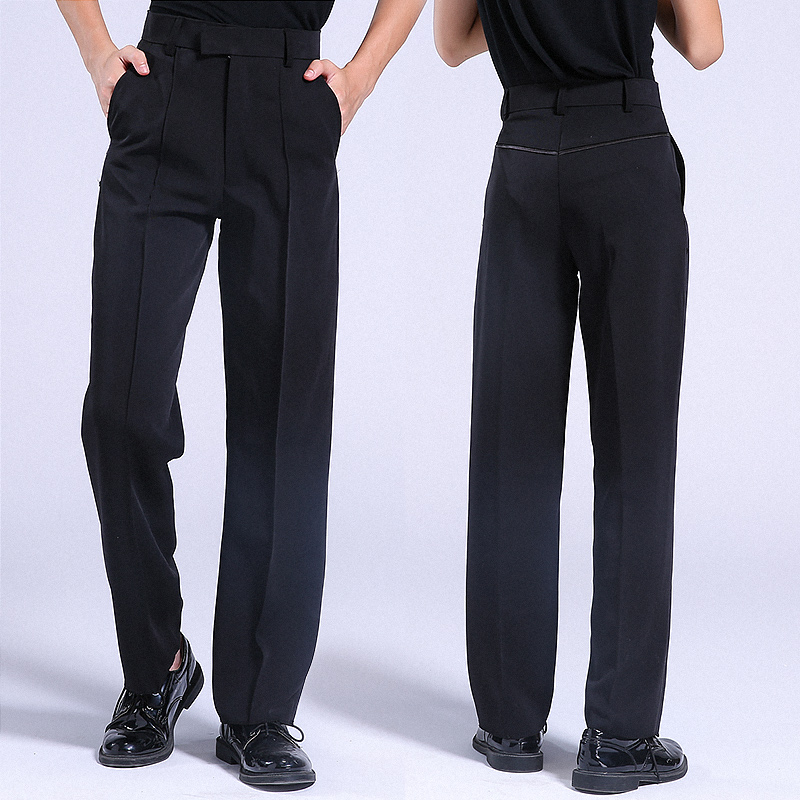 Boys Latin Dance Pants Black Men Ballroom Belted Dance Trousers Modern Salsa Tango Rumba Samba Cha Cha Latin Pants
