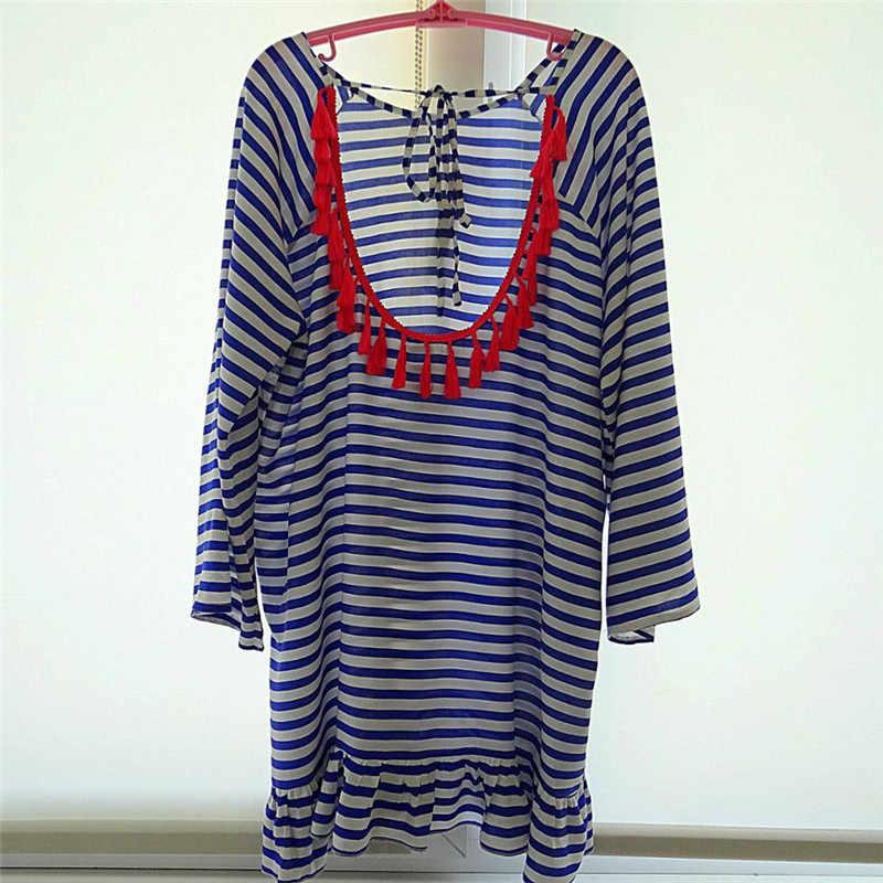 2f8cdc4edaf60 ... Cotton Tunics for Beach Women Swimsuit Cover up Women Swimwear Striped  Backless Beachwear Pareo Beach Dress ...