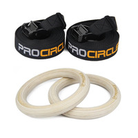 PROCIRCLE 32mm/28mm Wood Gymnastic Rings with Straps Buckles Gym Crossfit Strength Training Pull Up Dips Top Quality