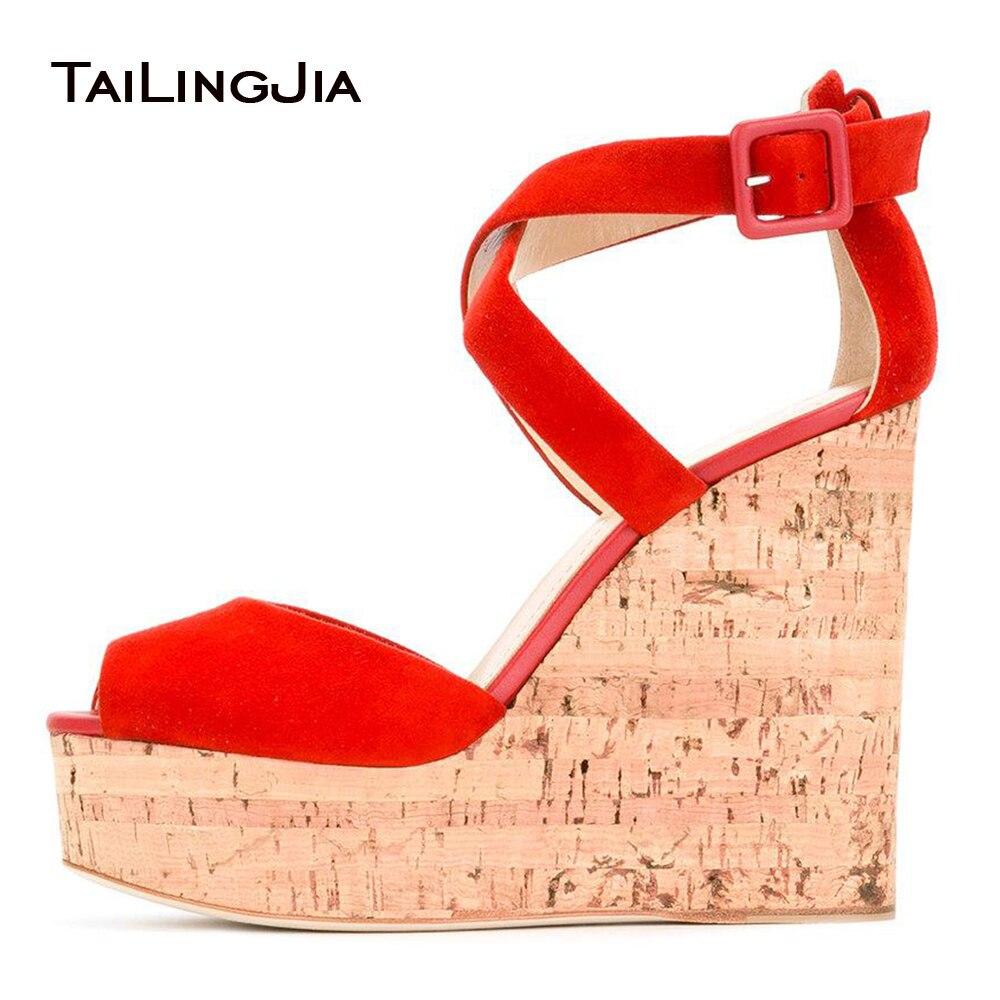 Women Red Faux Suede Cork Wedge Sandals Peep Toe Supper High Platforms Dress Heels Ladies Summer High Heel Shoes Plus Size 2018