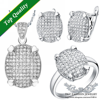 2015 Fashion Round Trendy Cubic Zirconia 925 Silver Pendant Earrings and Ring U.S Size 7/8/9 Jewelry Set Ulove T005