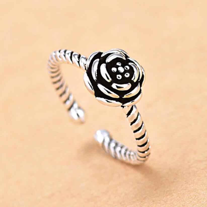 ใหม่ Vintage เงิน Rose ดอกไม้ Lotus เรขาคณิตเปิดแหวน 925 เงินสเตอร์ลิงเครื่องประดับ Anelli Donna SAR31
