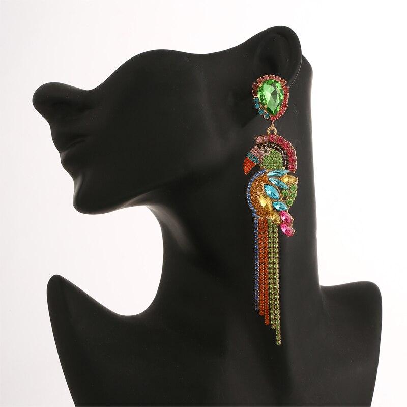 luxury Birds big earrings 2019 women earrings statement long tassel fashion colorful rhinestone chandelier earings jewelry