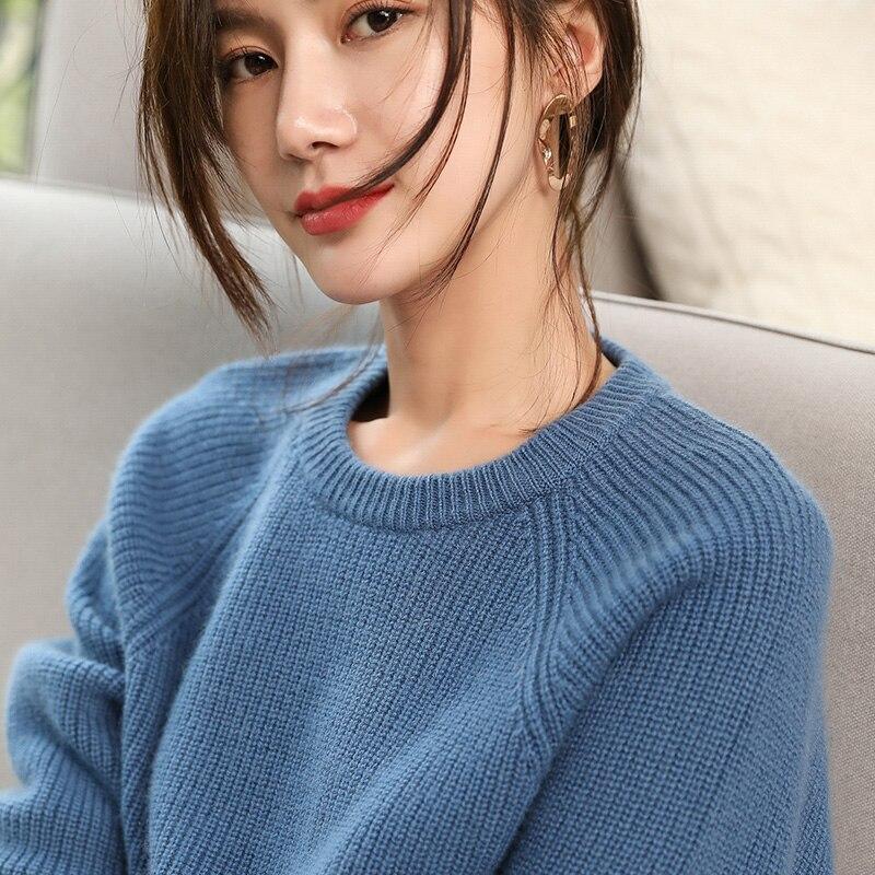Для женщин свитера Новинка зимы толстые теплые пуловеры 100% из чистого кашемира вязание перемычки Oneck 4 цвета дамы плотного трикотажа Топы