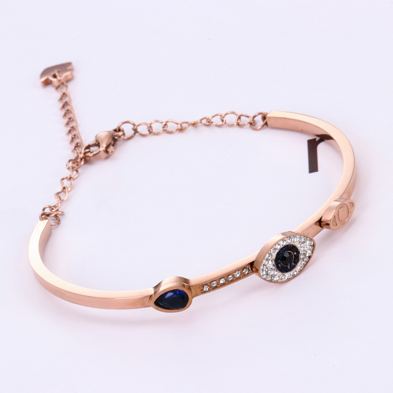 HFYK 2018 Hot Crystal Eye Bangles For Women Rose Gold Stainless Steel Bangles Bracelets Jewellery pulseiras para as mulheres