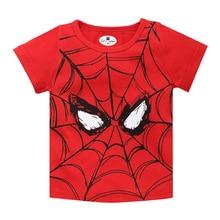 Новые детские футболки футболка с короткими рукавами с изображением популярного героя Человека-паука, принт Супермена, Детская футболка для маленьких мальчиков летние топы