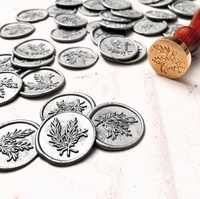 Fern leaf Self adhesive wax seal sitckers, invitaion stick wax seal,23 Color Available,Fern leaves wax seal stickers