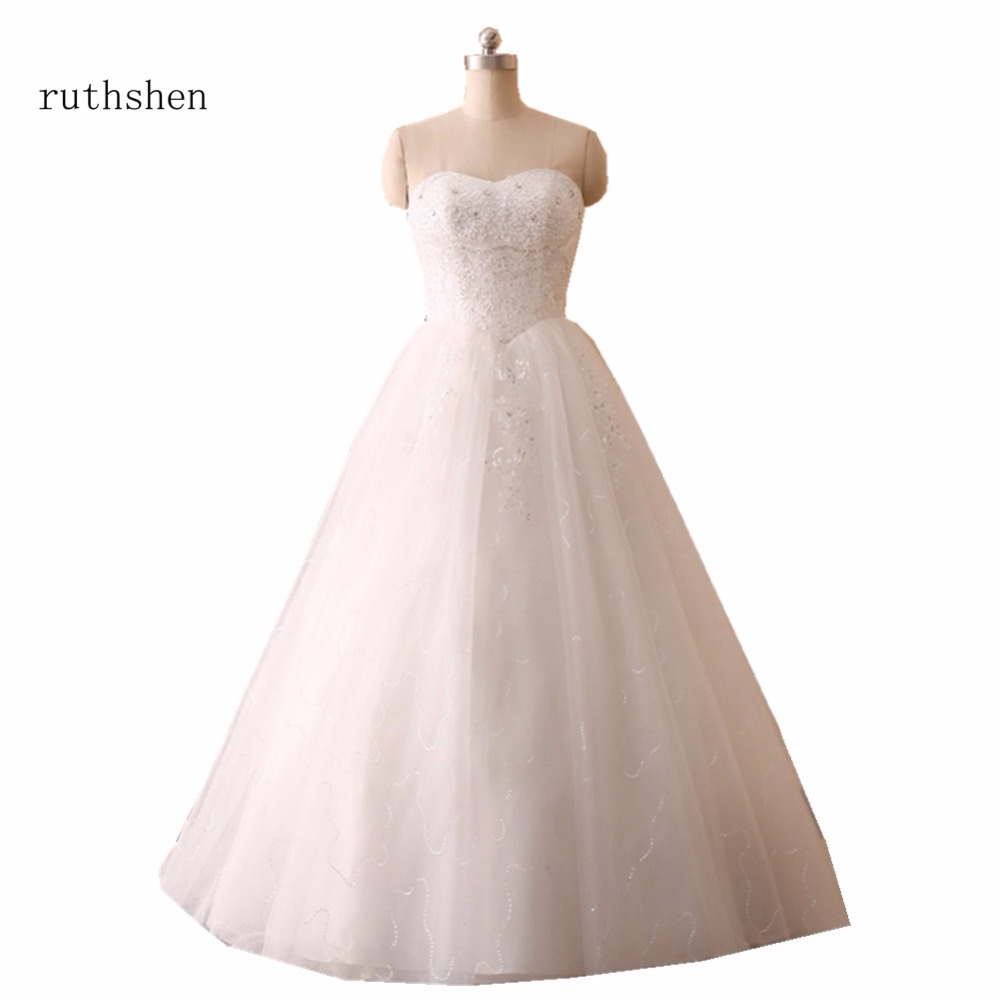 ruthshen Real Photo Cheap Ball Gown Wedding Dresses Princess Sequins Beaded Tulle White Ivory In Stock Vestido De Noiva 2018