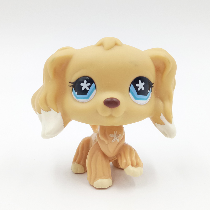 pet shop lps toys #748 cream tan cocker spaniel dog flower star eyes rare animal toys kids gift original free shipping