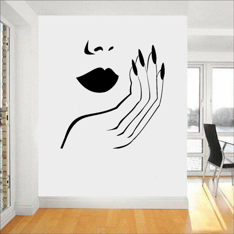 Modern Style Salon Girls Wall Decal Sexy Woman Lips Hand Nails Vinyl Wall Stickers Home Decoration Adhesive Art Mural H187 ...