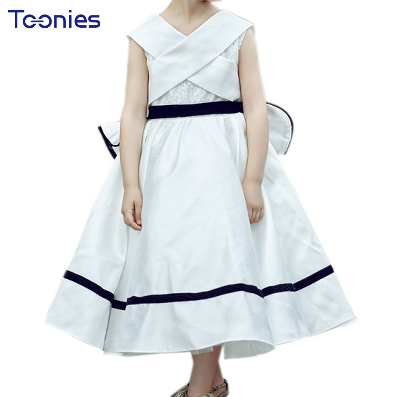 White Girls Dresses for Party and Wedding Big Back Bow Princess Costume Ball Gown Vestido Kids Dress Formal Occassion Clothing
