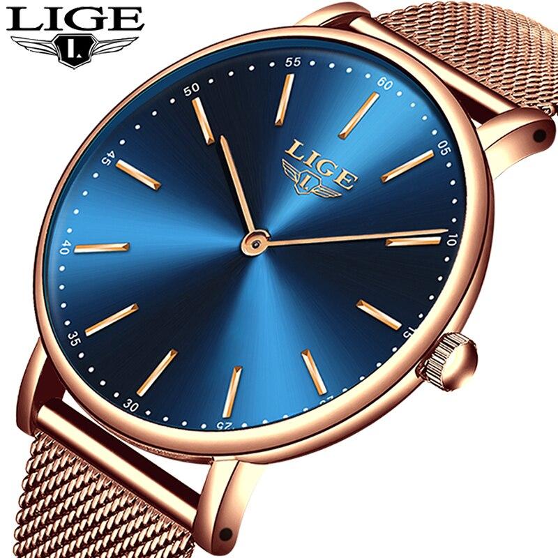 LIGE Super Mince Rose Or Maille montre en acier inoxydable Femmes Top Marque De Luxe horloge décontractée Dames montre-bracelet Dame Reloj Mujer