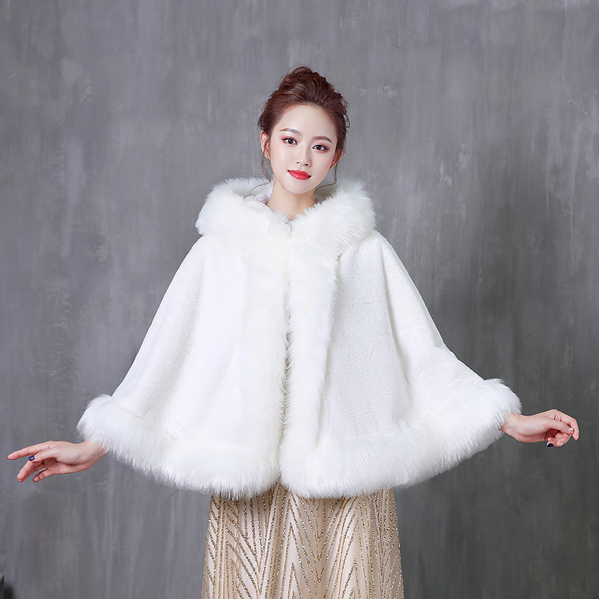 Women Wedding Jacket Bolero Wrap White Bridal Jacket With Hat Warm Faux Fur Winter Wraps Wedding Accessories