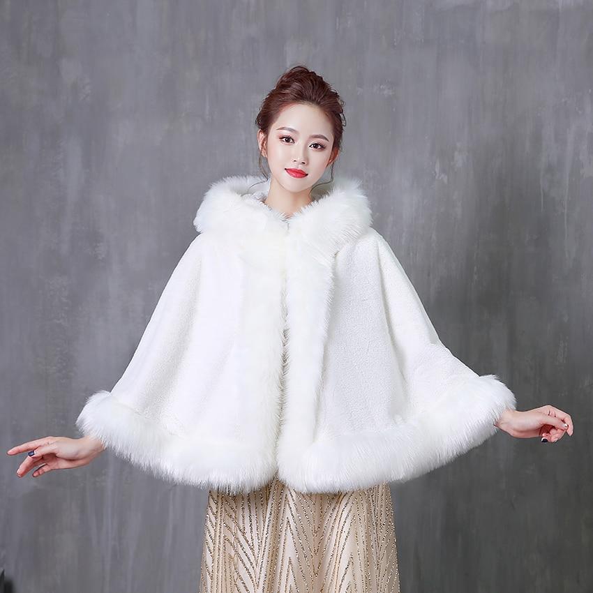 Women Wedding Jacket Bolero Wrap White Bridal Jacket With Hat Warm Faux Fur Winter Wraps Wedding Accessories