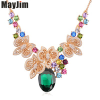 96a9817dc431 Austrian Crystal Flowers Necklaces Pendant Plated Alloy Plating Jewellery  Jewerly 2016 Necklace Women Fashion Jewelry Bijoux