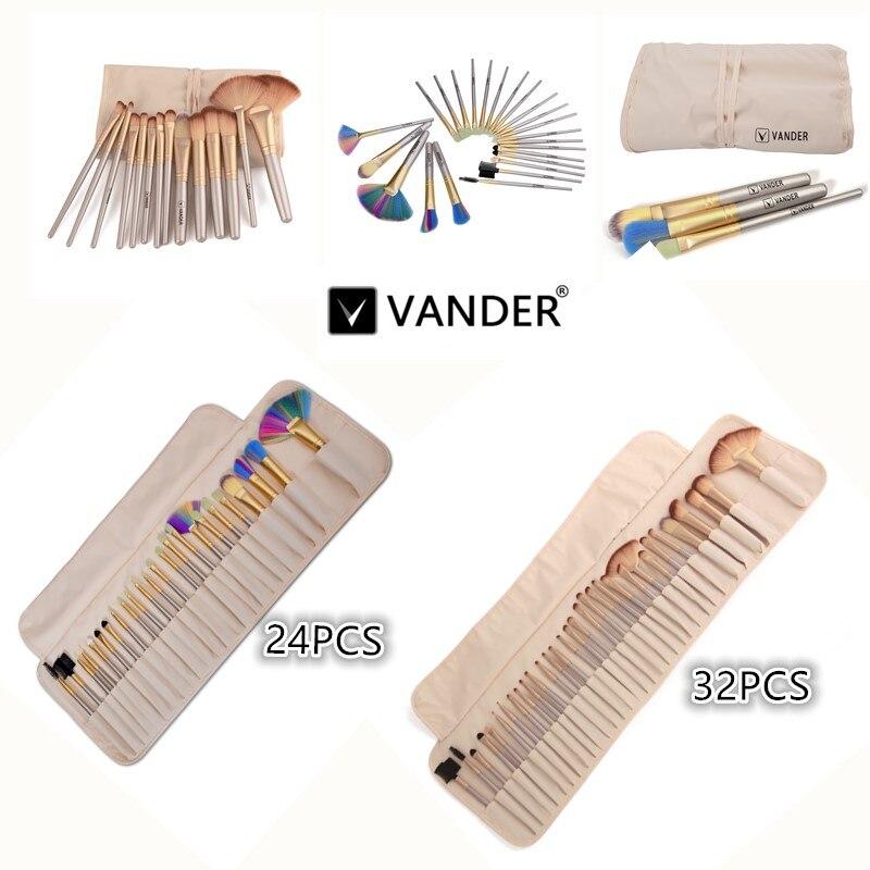 VANDER Champagne 24/32 pcs Maquillage Brosses Outils Haute Qualité Visage Sourcils Ombre Cosmétique Brush Set Kits Avec Sac maquiagem