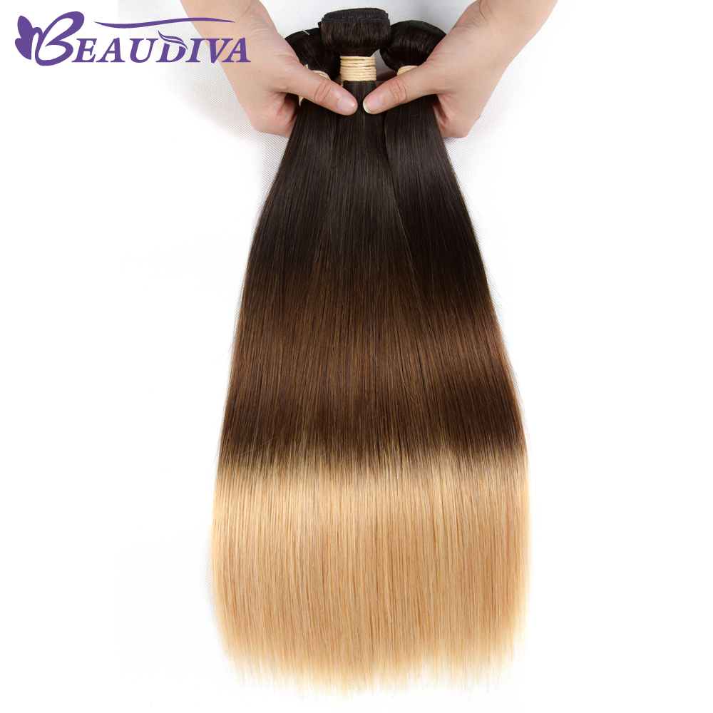 BEAUDIVA Brazilian Pre Colored 1B 4 27 Straight Ombre Brazilian Human Hair Weave Ombre Color Ombre