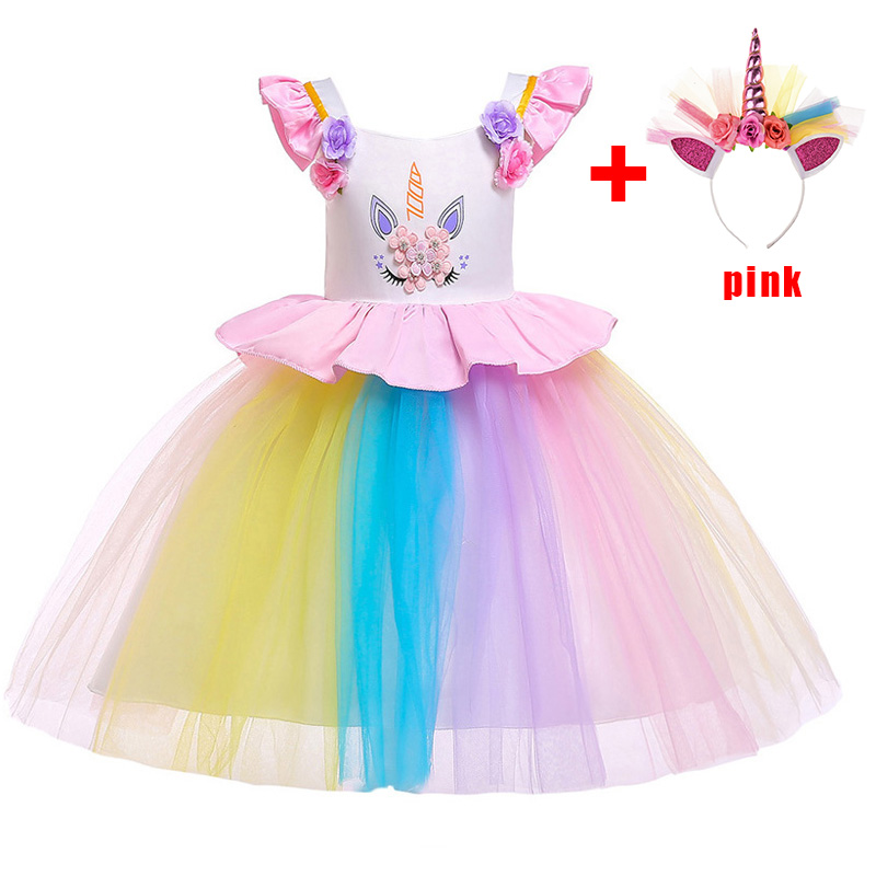 2019 Silver Gold Hoop Easter Unicorn Dress Costume Children Dress Girl Costume Girl Princess Dress Party Wedding Dress L5090