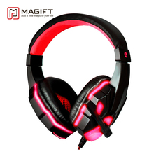 Magift Bass HD Gaming Headset Cool Glowing Mic Stereo Sound Wired Headphones With Microphone for Laptop PC Laptop computer Gamer
