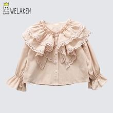 WeLaken/детские блузки для девочек; рубашка с кружевом; одежда для маленьких девочек; детские белые блузки и рубашки; детская одежда; топы
