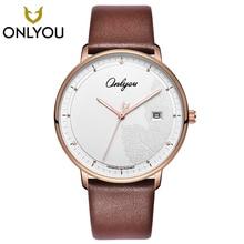 ONLYOU Fashion Creative Men font b Watch b font Casual Real Leather Strap Brown Quartz Wristwatch