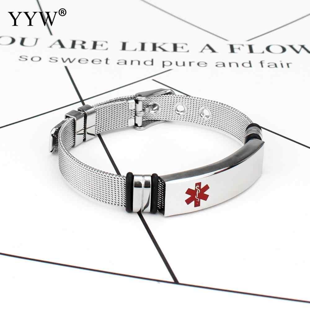 YYW Personalized Medical Alert ID Bracelet For Women Men Titanium Steel Adjustable Watch Band Emergency Jewelry