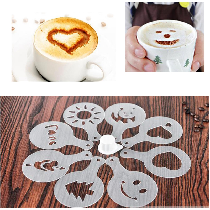 16 pcs Kitchen Dining /& Bar Cappuccino Coffee Barista Stencils Template Strew