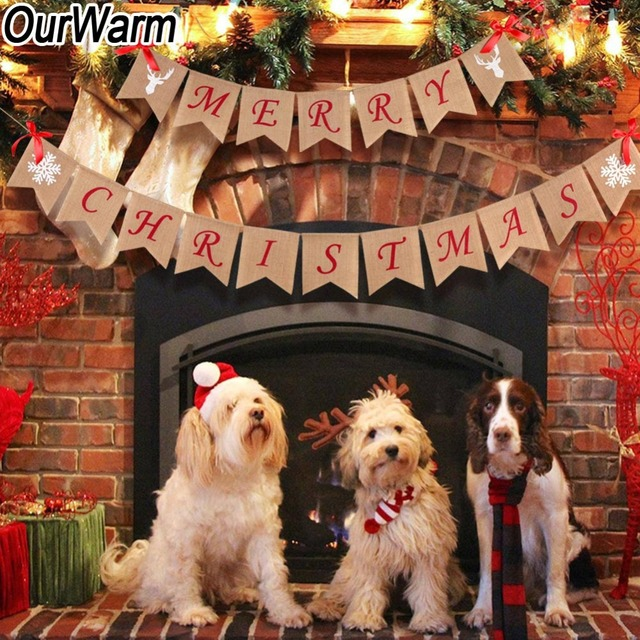 ourwarm merry christmas burlap banner christmas banner new year christmas decorations for home wall door decoration - Burlap Christmas Door Decorations